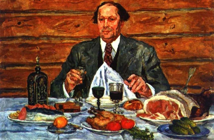 Painter Pyotr Konchalovsky's portrait of Tolstoy, who I guess enjoyed a meal or two